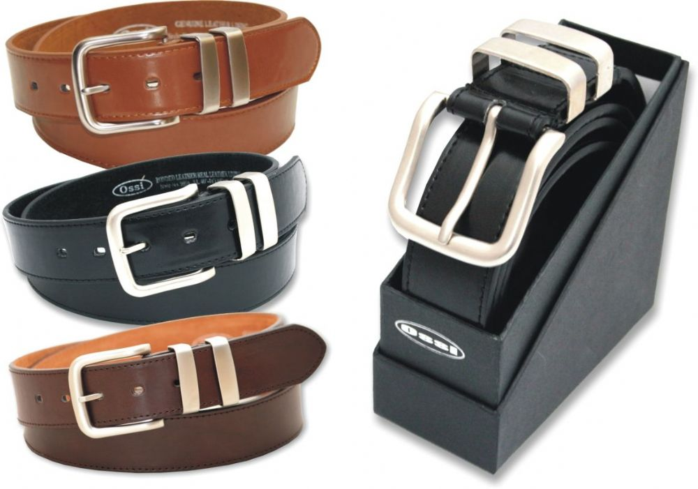 "38mm Double Loop Leather Lined Belt in 3 Colours (Sizes 32"" - 60"")"